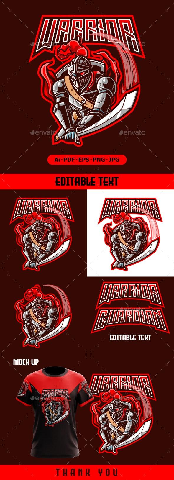 Warrior mascot logo Illustration - Humans Logo Templates