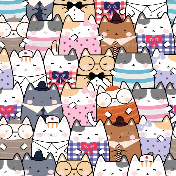 Seamless Kawaii Cute Cats Pattern