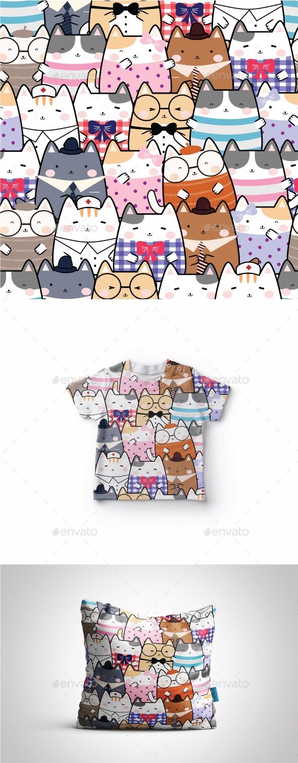 Seamless Kawaii Cute Cats Pattern - Patterns Decorative