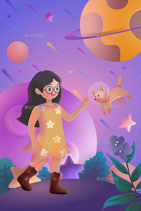 Fantasy - Girl and Space Dog - Illustrations Graphics