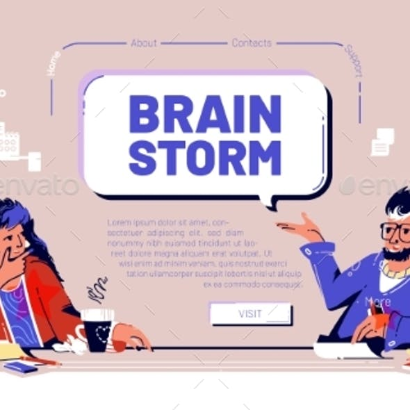 Vector Banner of Brainstorm Team Meeting