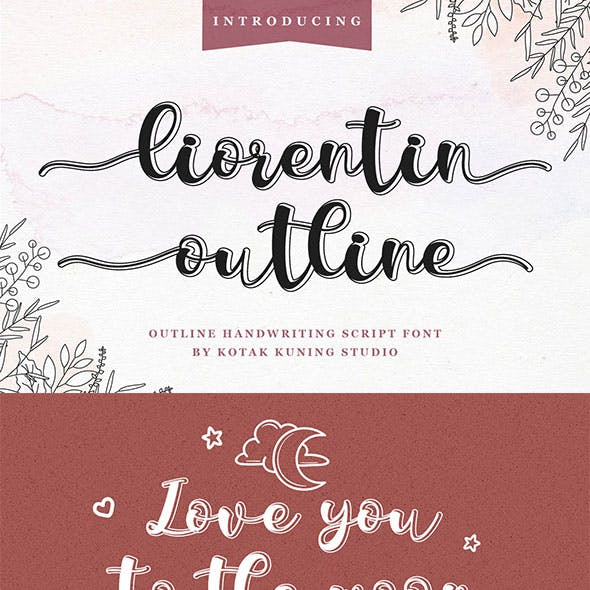 Liorentin Outline - Outline Script Font