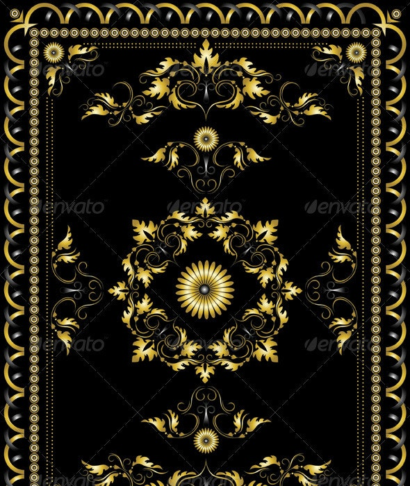 Ornament Oriental Rugs with Golden Decor - Borders Decorative