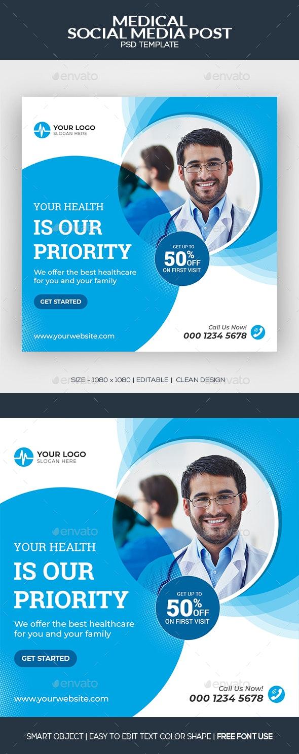 Medical Social Media Post Banner Template - Social Media Web Elements