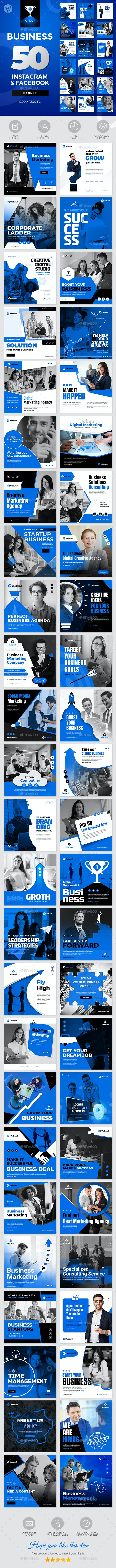 50-Instagram & Facebook Business Banners - Social Media Web Elements