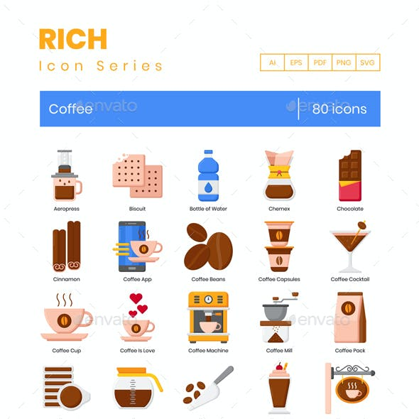 80 Coffee Icons | Rich Series