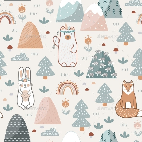 Seamless Pattern with Cute Forest Animals Flowers - Animals Characters
