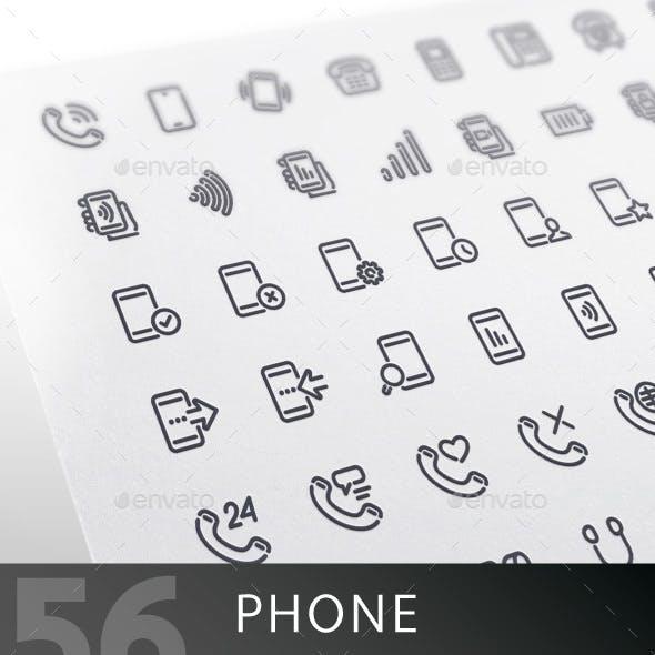 Phone Line Icons Set