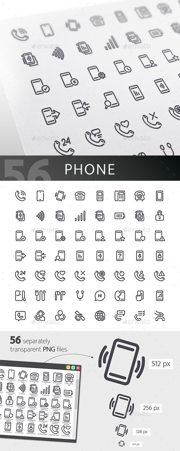Phone Line Icons Set - Technology Icons