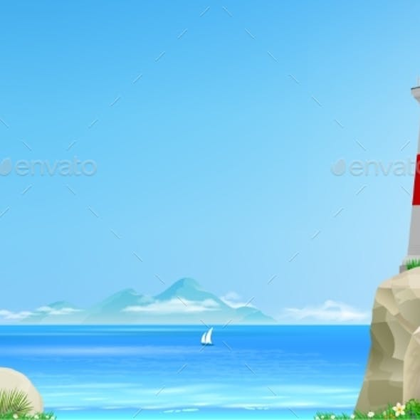 Landscape with Lighthouse on Background of the Sea