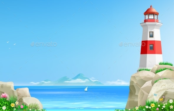 Landscape with Lighthouse on Background of the Sea - Buildings Objects