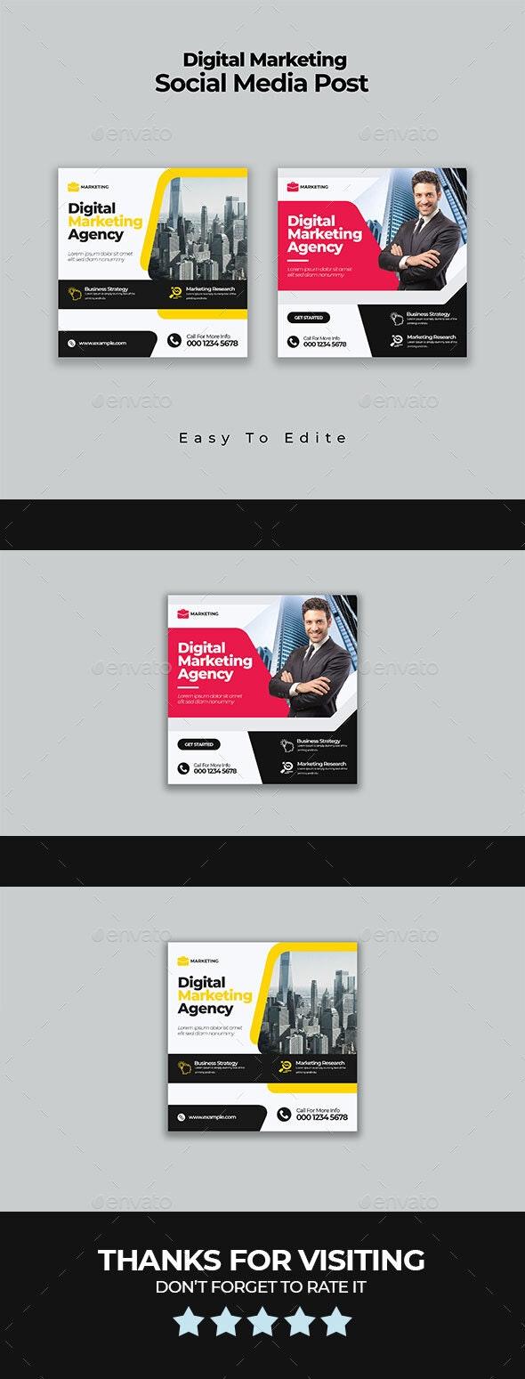 Marketing Agency Social Media Post Template - Social Media Web Elements