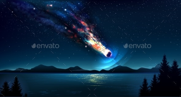 Falling Comet in the Night Blue Sky - Landscapes Nature