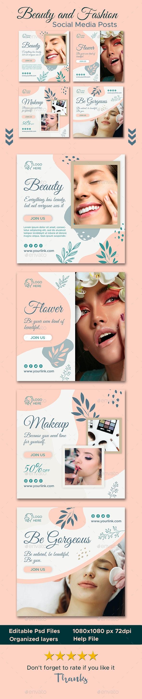 Beauty and Fashion Social Media Posts - Social Media Web Elements
