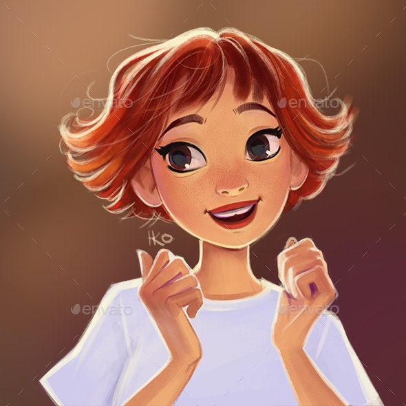 Portrait of young pretty smile girl - Characters Illustrations