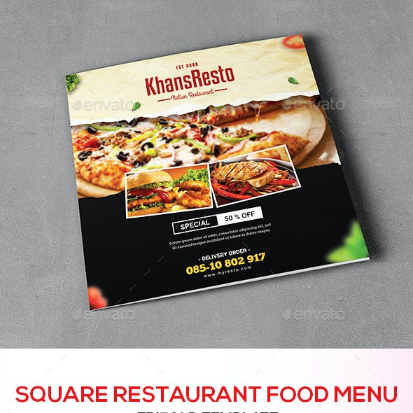 Square Trifold Food Menu Brochure