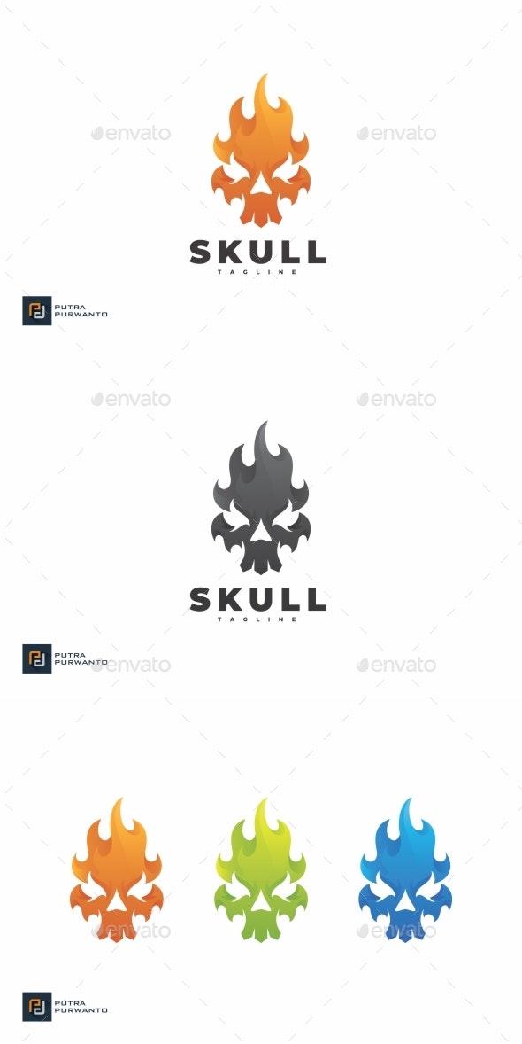 Skull Fire - Logo Template - Humans Logo Templates