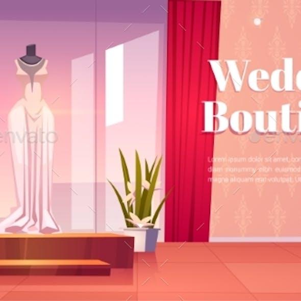 Wedding Boutique Cartoon Landing Page Bridal Shop