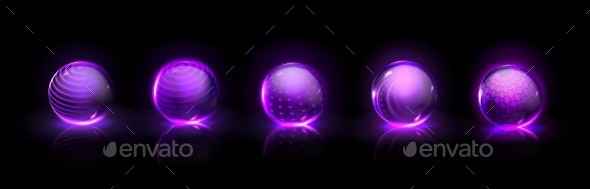 Force Shield Bubbles Power Energy Glass Spheres - Objects Vectors