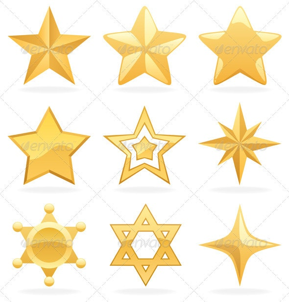 Golden Star Icons - Web Elements
