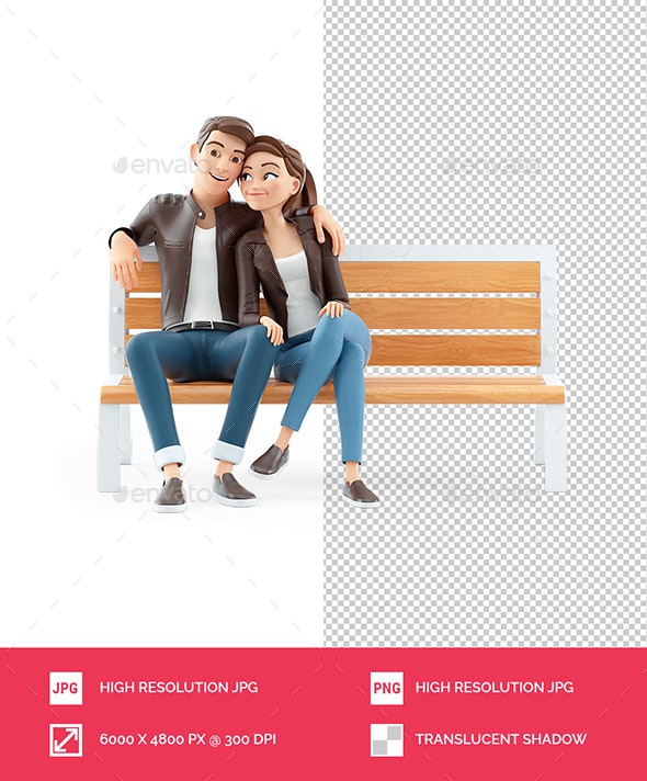 3D Cartoon Couple in Love Sitting on Public Bench - Characters 3D Renders