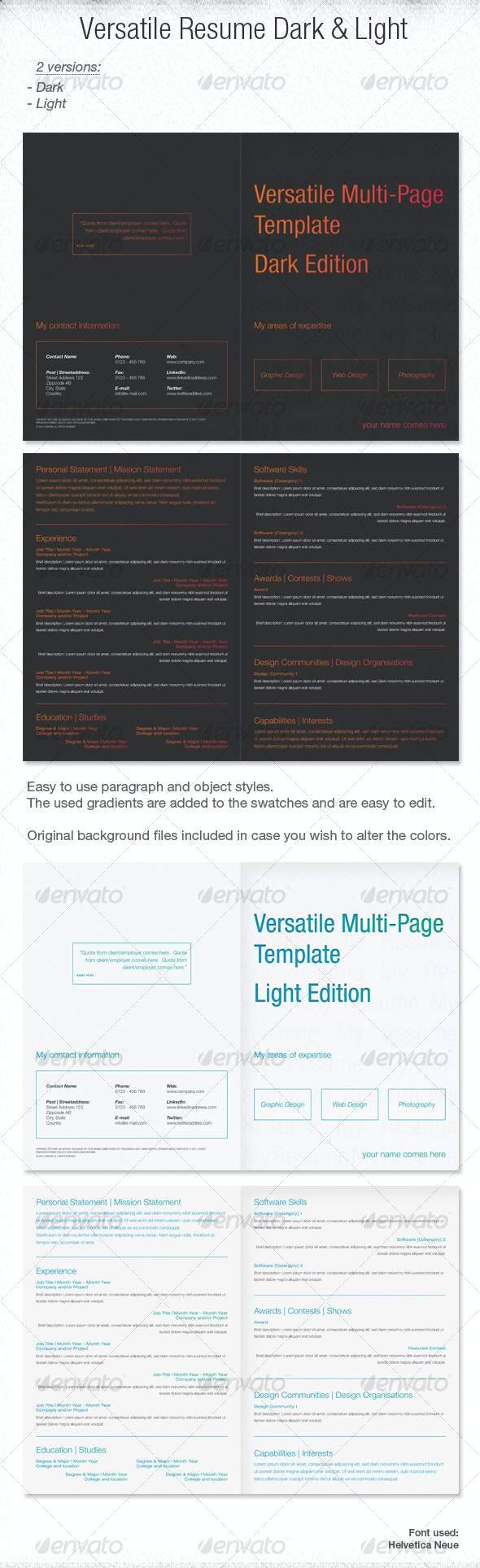 Versatile Multi-Page Template Dark and Light - Resumes Stationery