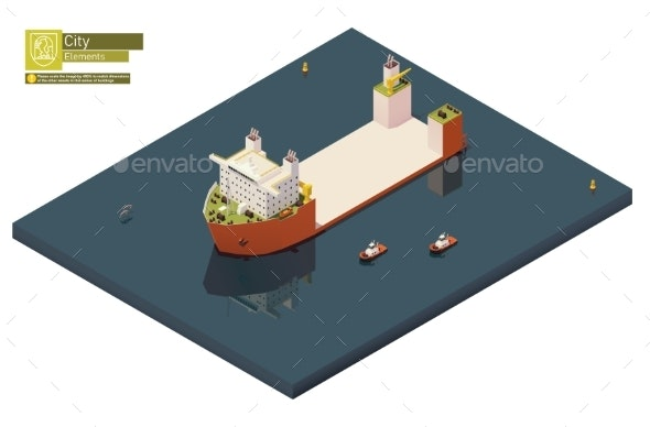 Vector Isometric Heavy Lift Vessel or Ship - Man-made Objects Objects
