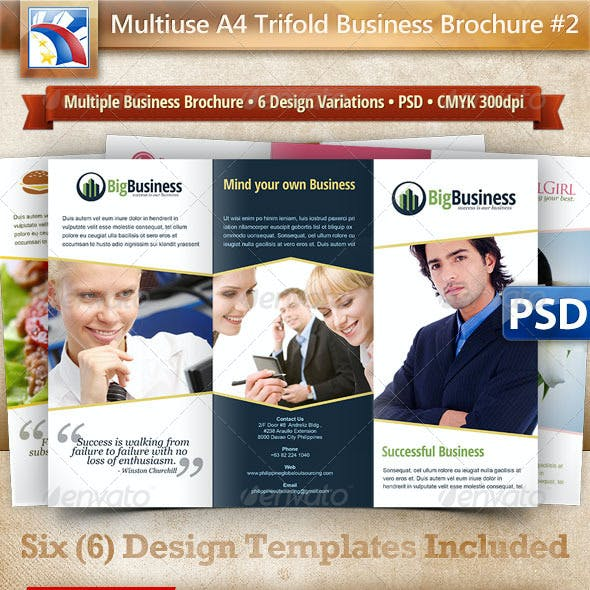 A4 Trifold Brochure Template PSD 6 Variations #2