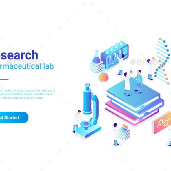 Research Pharmaceutical Laboratory vector illustration