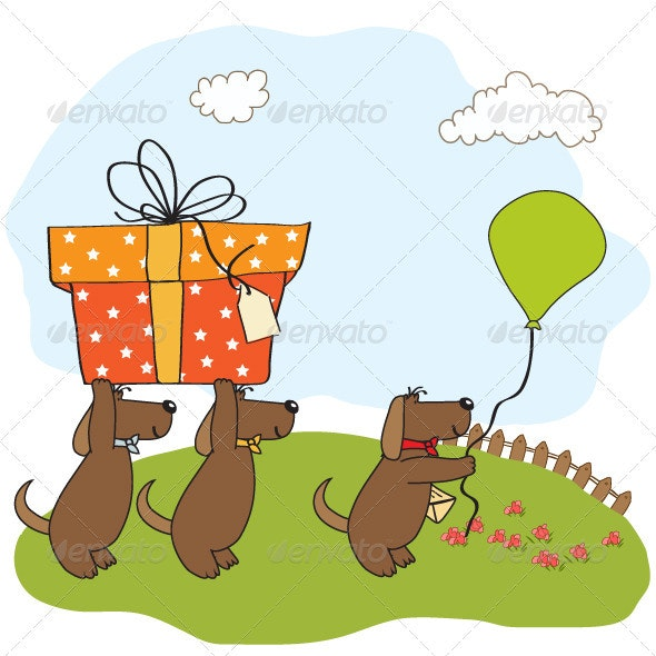 Three dogs that offer a big gift - Animals Characters