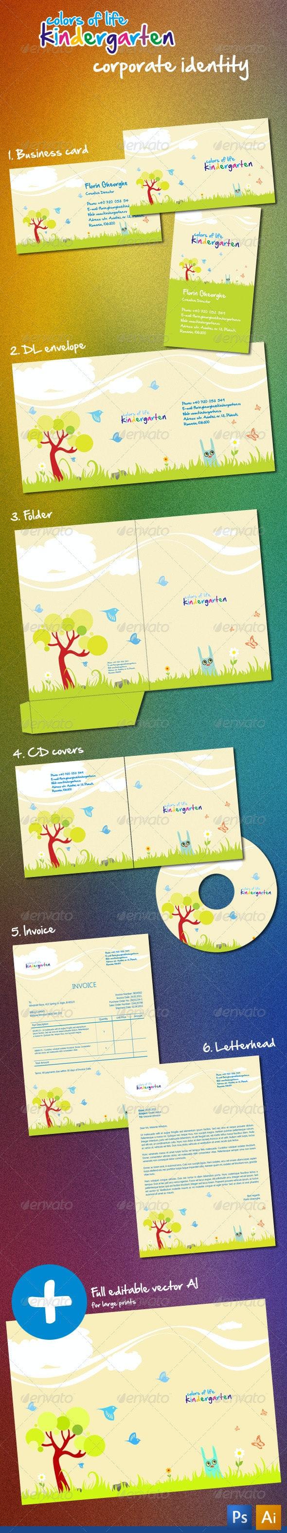 Kindergarten Corporate Identity - Stationery Print Templates