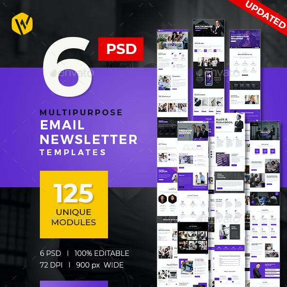 6 E-Newsletter Email PSD Templates