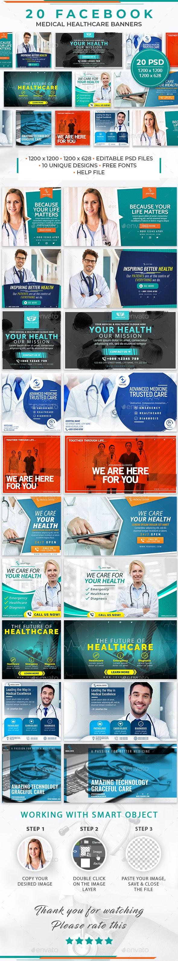 20 Facebook Medical Healthcare Banners - Social Media Web Elements
