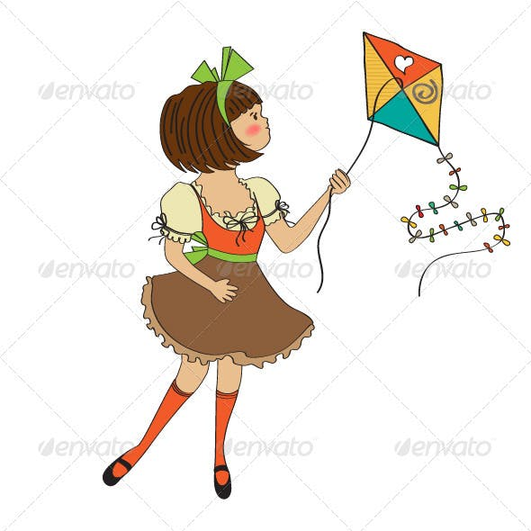 Girl who are playing with a kite