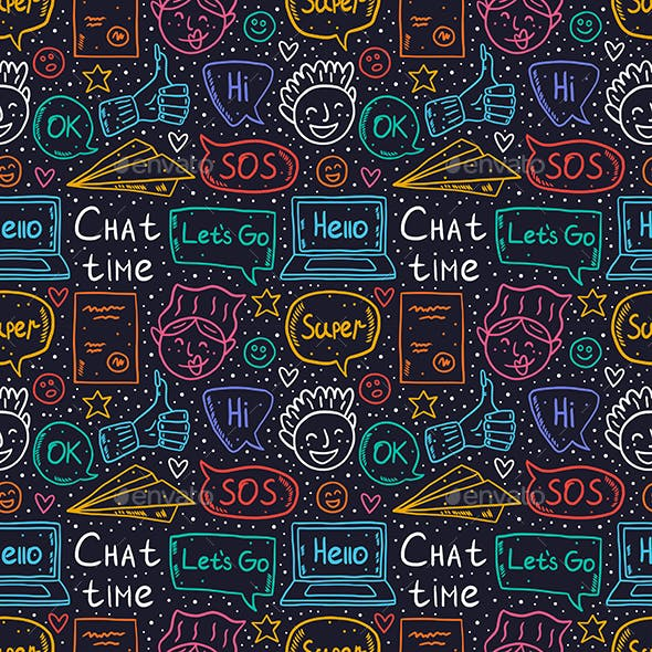Chat Time Doodle Vector Seamless Pattern.