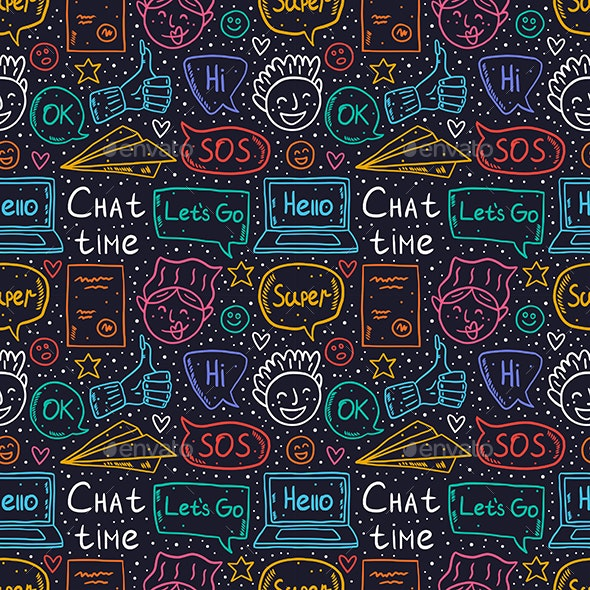 Chat Time Doodle Vector Seamless Pattern. - Patterns Decorative