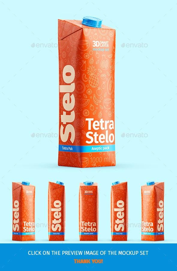 Tetra Stelo Aseptic Pack 1000ml Mockup Set - Food and Drink Packaging