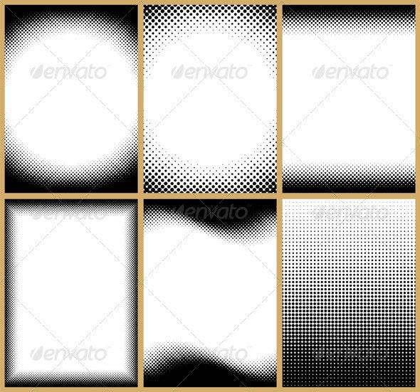 Halftone Frames - Borders Decorative
