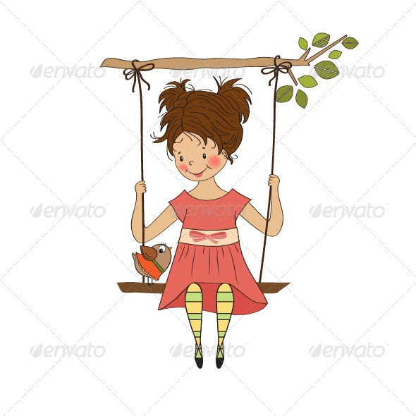 Young girl in a swing - People Characters