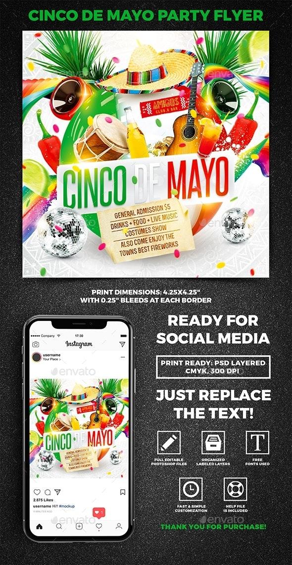 Cinco de Mayo Party Square Flyer vol.5 - Holidays Events