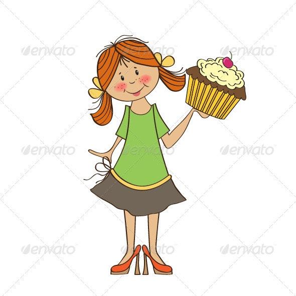 Girl and big cupcake - People Characters