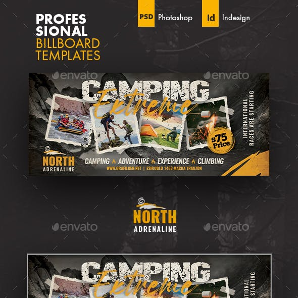 Camping Adventure Billboard Templates
