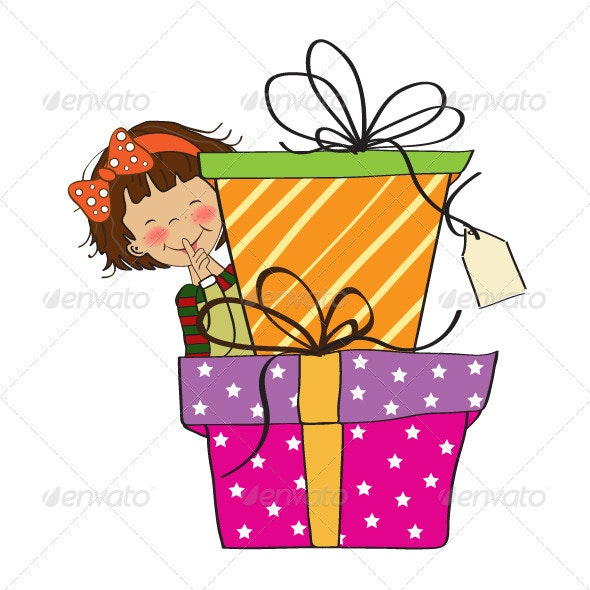 Little girl hidden behind boxes of gifts - People Characters