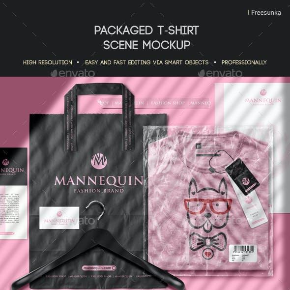 Packaged T-Shirt Scene  Mockup