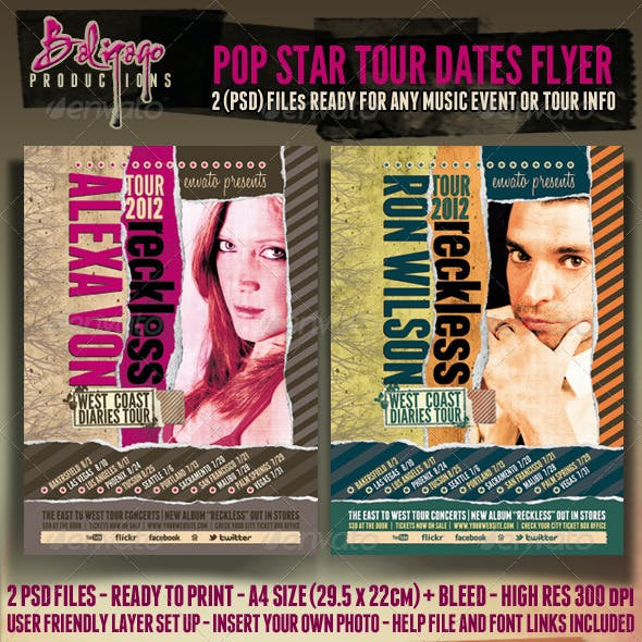 Pop Star Tour Dates Poster - Flyer