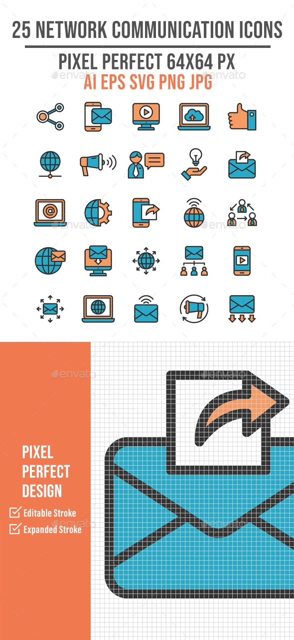 25 Business Network Communication Flat Icon - Technology Icons