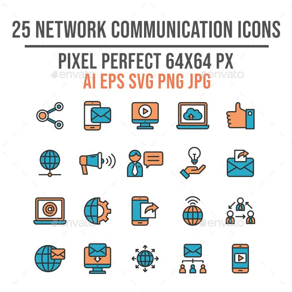 25 Business Network Communication Flat Icon