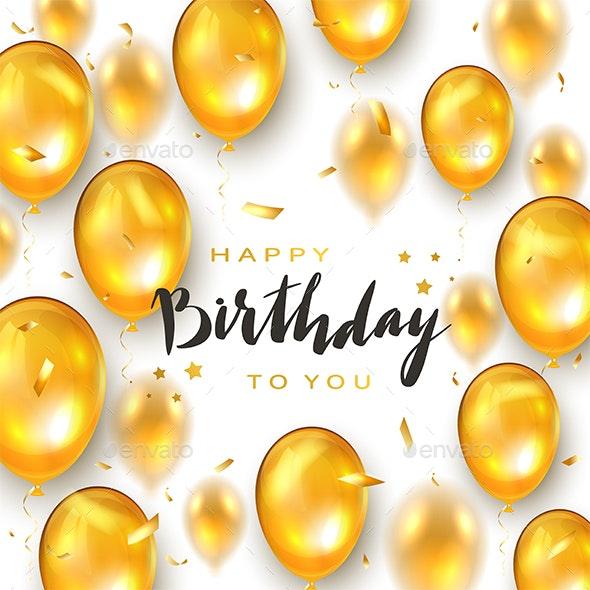 Golden Birthday Balloons on White Holiday Background - Birthdays Seasons/Holidays