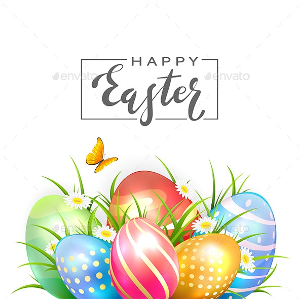 Colored Easter Eggs and Butterfly on White Background - Religion Conceptual