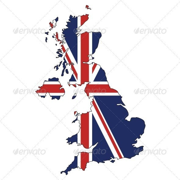 UK Map with Union Jack Flag - Travel Conceptual
